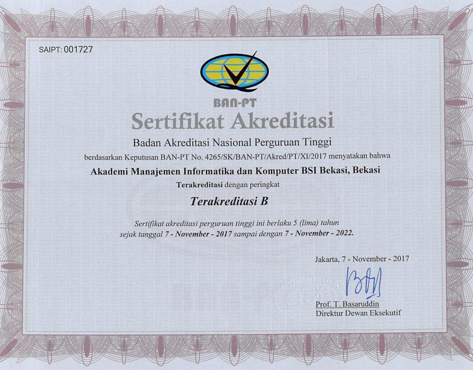 Sertifikat APT AMIK BSI Bekasi (7 Nop 2017 s.d 7 Nop 2022) (1)